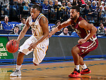 BROOKINGS, SD - FEBRUARY 6:  George Marshall #11 from South Dakota State drives against Jordan Pickett #4 from IUPUI during their game Saturday evening at Frost Arena in Brookings. Photo by Dave Eggen/Inertia)