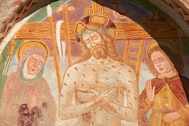 Fresco of Jesus Christ and the Cross on the church of San Vigilio in Pinzolo, Trentino, Italy