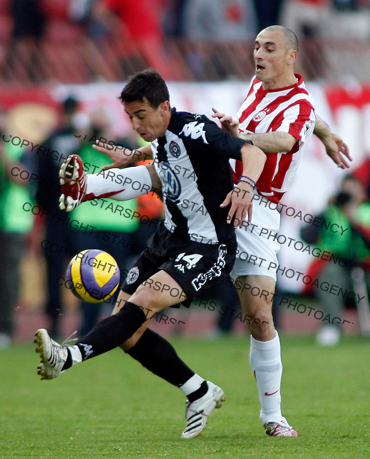 Fudbal, Super league, play off, season 2006/07.Crvena Zvezda Vs. Partizan.Djordje Lazic, left and Aleksandar Pantic, right.Beograd, 11.04.2007..foto: Srdjan Stevanovic