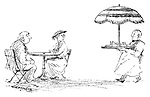 (Waiter serving meal with tray covered by umberella)