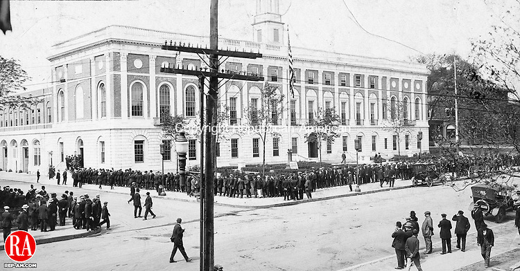 Eligible men queued up to register for the World War I draft at Waterbury City Hall in 1917.