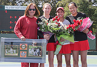 STANFORD, CA - April 9, 2011:  Seniors Carolyn McVeigh, Hilary Barte, and Jennifer Yen, with Head Coach Lele Farood  before Stanford's 5-2 victory over Washington at Stanford, California on April 9, 2011.