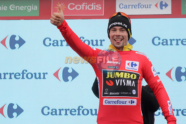 Race leader Primoz Roglic (SLO) Team Jumbo-Visma retains the Red Jersey at the end of Stage 16 of La Vuelta 2019  running 144.4km from Pravia to Alto de La Cubilla. Lena, Spain. 9th September 2019.<br /> Picture: Luis Angel Gomez/Photogomezsport | Cyclefile<br /> <br /> All photos usage must carry mandatory copyright credit (© Cyclefile | Luis Angel Gomez/Photogomezsport)