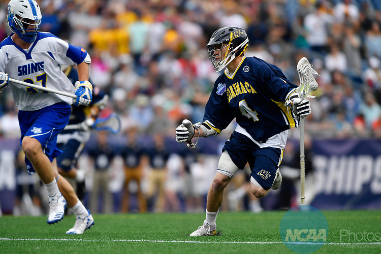 FOXBORO, MA - MAY 28: John Bassett (4) of Limestone College races past Ryan Mulka (37) of Merrimack College during the Division II Men's Lacrosse Championship held at Gillette Stadium on May 28, 2017 in Foxboro, Massachusetts. (Photo by Larry French/NCAA Photos via Getty Images)