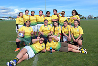Mana College psoe for a team photo after the 2019 Hurricanes Youth Council Under-15 Girls' Rugby Tournament match between Palmerston North Girls' High School and Mana College at Playford Park in Levin, New Zealand on Tuesday, 3 September 2018. Photo: Dave Lintott / lintottphoto.co.nz