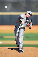 Marshall Thundering Herd relief pitcher Kolin Stanley (13) delivers a pitch to the plate against the Georgetown Hoyas at Wake Forest Baseball Park on February 15, 2014 in Winston-Salem, North Carolina.  The Thundering Herd defeated the Hoyas 5-1.  (Brian Westerholt/Four Seam Images)