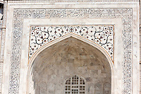 Agra, India.  Taj Mahal, showing Pietra Dura Inlaid Stone Work.