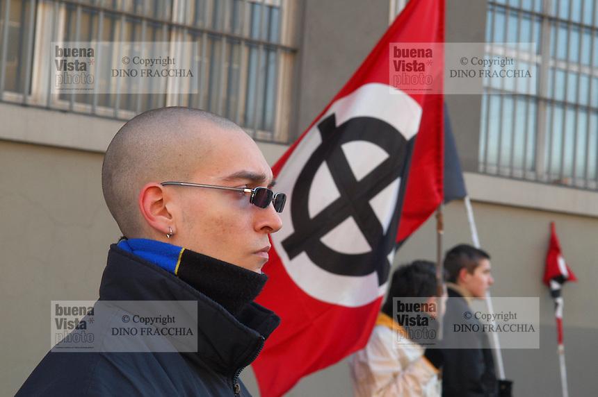 """- demonstration of the neonazi group """"Forza Nuova""""..- manifestazione del gruppo neonazista """"Forza Nuova"""""""