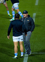 Argentina captain Agustin Creevy talks to head coach Mario Ledesma before the Rugby Championship match between the New Zealand All Blacks and Argentina Pumas at Trafalgar Park in Nelson, New Zealand on Saturday, 8 September 2018. Photo: Dave Lintott / lintottphoto.co.nz