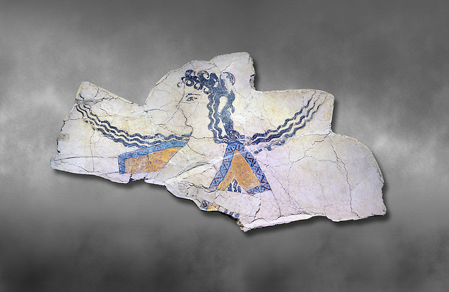 The Minoan 'Dancer' fresco deicting a doddess descending from the heavens, Knossos Palace, 1600-1450 BC . Heraklion Archaeological Museum.,grey background<br /> <br /> The Dancer fresco depits a goddess descending from the heavens as indicated by her locks of hair streaming in the wind. This is a familiar convention in Minoan iconogragraphy of a goddess hovering in the air, her right arm extended in a gesture of authority. This fragment is psrt of a larger epiphony scene