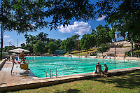 Deep Eddy Pool is a municipal pool located at 401 Deep Eddy Drive in Austin, Texas and a historic, man-made swimming pool and is the oldest swimming pool in Texas and features a bathhouse built during the Depression era by the Works Progress Administration.