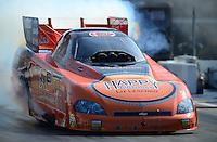 Jun. 15, 2012; Bristol, TN, USA: NHRA funny car driver Todd Lesenko during qualifying for the Thunder Valley Nationals at Bristol Dragway. Mandatory Credit: Mark J. Rebilas-