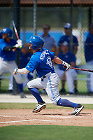 Toronto Blue Jays Hunter Steinmetz (13) follows through on a swing during a Florida Instructional League game against the Pittsburgh Pirates on September 20, 2018 at the Englebert Complex in Dunedin, Florida.  (Mike Janes/Four Seam Images)