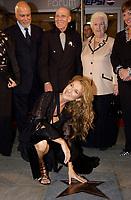 September 26. 2002, Montreal, Quebec, Canada; <br /> <br /> Celine Dion, her husband Rene Angelil   and her parents unveil her Bronze Star at the Pepsi Forum's Walk of Fame, September 26 2002, Montreal, CANADA.