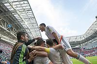 KAZAN, RUSSIA, 18.06.2017 - PORTUGAL-MÉXICO - Raul Jimenez do  México comemora gol contra Portugal, válida pela 1°rodada da Copa das Confederações 2017, neste domingo (18), realizada na Arena Kazan, em Kazan, Rússia. (Foto: Etzel Espinosa/Brazil Photo Press)