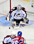 15 October 2009: Colorado Avalanche goaltender goaltender Craig Anderson makes a second period save against the Montreal Canadiens at the Bell Centre in Montreal, Quebec, Canada. The Avalanche edged out the Habs 3-2 in Montreal's season home opener. Mandatory Credit: Ed Wolfstein Photo