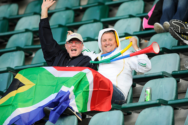 The Hague, Netherlands, June 01: Fans of South Africa during the second half during the field hockey group match (Women - Group B) between Argentina and South Africa on June 1, 2014 during the World Cup 2014 at Kyocera Stadium in The Hague, Netherlands. Final score 4:1 (2:0) (Photo by Dirk Markgraf / www.265-images.com) *** Local caption ***