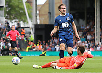 Blackburn Rovers' Sam Gallagher is beaten to the ball by Fulham's Marcus Bettinelli<br /> <br /> Photographer David Shipman/CameraSport<br /> <br /> The EFL Sky Bet Championship - Fulham v Blackburn Rovers - Saturday 10th August 2019 - Craven Cottage - London<br /> <br /> World Copyright © 2019 CameraSport. All rights reserved. 43 Linden Ave. Countesthorpe. Leicester. England. LE8 5PG - Tel: +44 (0) 116 277 4147 - admin@camerasport.com - www.camerasport.com
