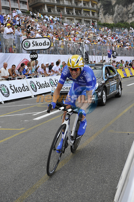 Agritubel team rider Christophe Moreau (FRA) passes beneath the packed grandstands on his way to the finish line the Prologue Stage 1 of the 2009 Tour de France a 15.5km individual time trial held around Monaco. 4th July 2009 (Photo by Eoin Clarke/NEWSFILE)