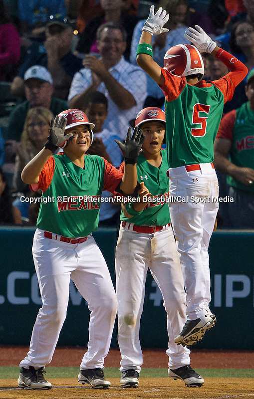 August 15, 2014: Mexico's Andres Medina (5) is congratulated on a home run against Japan during the Cal Ripken 12u 70-foot World Series United States Championship at the Ripken Experience powered by Under Armour in Aberdeen, Maryland on August 15, 2014, Mexico won 10-7.Eric Patterson/Ripken Baseball/CSM