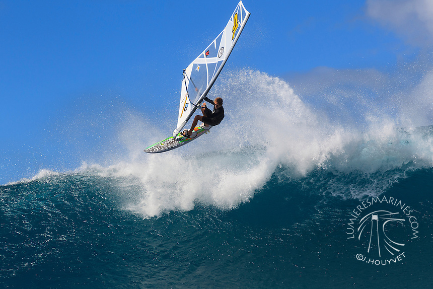Morgan Noireaux at the 6th and final stop of the 2012 American Windsurfing Tour (AWT), in Ho'okipa Beach Park (Maui, Hawaii, USA)