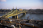 Budapest, Hungary; Liberty Bridge with trams in the foreground.