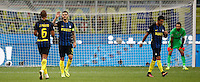 Calcio, Serie A: Inter vs Juventus. Milano, stadio San Siro, 18 settembre 2016.<br /> Inter's Mauro Icardi, second from left, celebrates after scoring as Juventus&rsquo; goalkeeper Gianluigi Buffon, right, reacts during the Italian Serie A football match between FC Inter and Juventus at Milan's San Siro stadium, 18 September 2016.<br /> UPDATE IMAGES PRESS/Isabella Bonotto