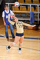 17 November 2011:  FIU defensive specialist/libero Carolyn Fouts (17) serves in the first set as the FIU Golden Panthers defeated the Denver University Pioneers, 3-1 (25-21, 23-25, 25-21, 25-18), in the first round of the Sun Belt Conference Tournament at U.S Century Bank Arena in Miami, Florida.