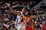 Ricky Rubio of Spain and Eloy Vargas of Dominican Republic during the Friendly match between Spain and Dominican Republic at WiZink Center in Madrid, Spain. August 22, 2019. (ALTERPHOTOS/A. Perez Meca)