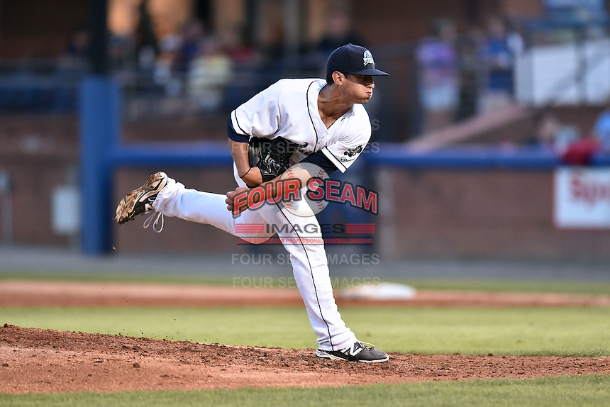 Asheville Tourists pitcher Jerry Vasto (28) delivers a pitch during the South Atlantic League All Star Game on June 23, 2015 in Asheville, North Carolina. The North Division defeated the South 7-5(Tony Farlow/Four Seam Images)