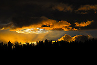 Dark and brooding sunset over the Kootenai Forest in Montana