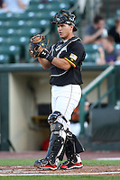 Rochester Red Wings Catcher Wilson Ramos during a game vs. the Charlotte Knights at Frontier Field in Rochester, New York;  June 17, 2010.   Charlotte defeated Rochester by the score of 9-2.  Photo By Mike Janes/Four Seam Images