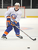 Sebastian Aho #28 makes a pass during New York Islanders Rookie Camp at NYCB Live's Nassau Coliseum in Uniondale on Tuesday, Sept. 12, 2017.
