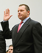 "Washington, DC - February 13, 2008 -- Roger Clemens, former New York Yankee pitcher is sworn to testify before the United States House of Representatives Committee on Government Operations and Reform hearing on ""The Mitchell Report: The Illegal use of Steroids in Major League Baseball, Day 2""  concerning alleged use of steroids and human growth hormone (HGH) by Clemens and several other major league players in Washington, D.C. on Wednesday, February 13, 2008.  .Credit: Ron Sachs / CNP.(RESTRICTION: NO New York or New Jersey Newspapers or newspapers within a 75 mile radius of New York City)"