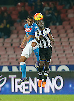 Faouzi Ghoulam fight for the ball with Emmanuel  Badu  during the  italian serie a soccer match,between SSC Napoli and Udinese      at  the San  Paolo   stadium in Naples  Italy , November 08, 2015