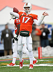 Miami Hurricanes quarterback Stephen Morris (17) practices before the 2010 Hyundai Sun Bowl football game between the Notre Dame Fighting Irish and the Miami Hurricanes at the Sun Bowl Stadium in El Paso, Tx. Notre Dame defeats Miami 33 to 17...