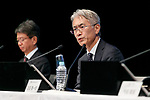 Kenichiro Yoshida (R), chief financial officer of Sony Corp., announces the company's financial result for the second quarter ending September 30 at the Sony headquarters on October 31, 2017, Tokyo, Japan. Sony reported that 4.2 million units of PlayStation4 were shipped to retailers,bringing the total to 67.5 million units shipped in the console's lifetime. (Photo by Rodrigo Reyes Marin/AFLO)