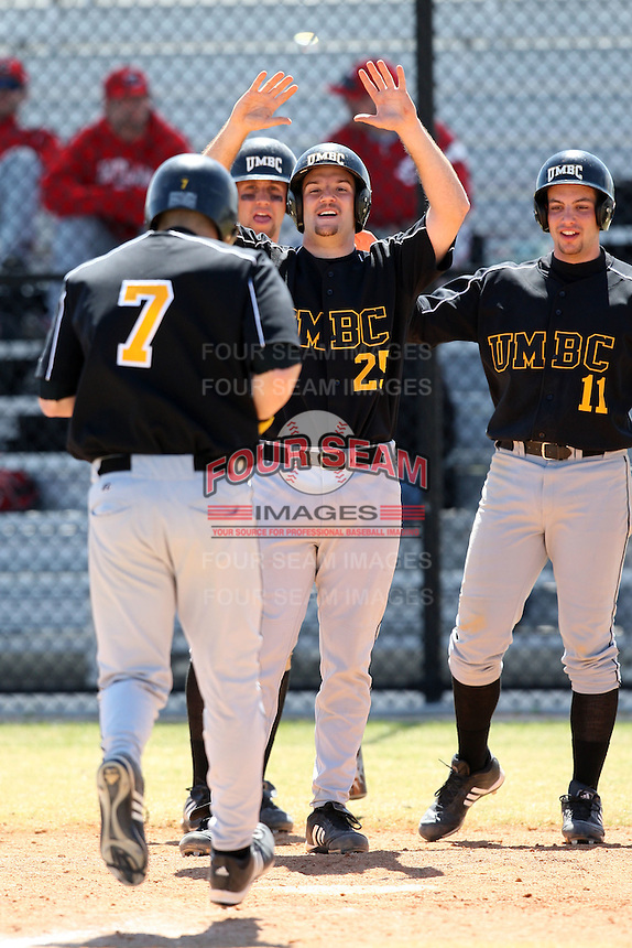March 15, 2010:  Catcher Rick Phillips of UMBC vs. Long Island University at Lake Myrtle Park in Auburndale, FL.  Photo By Mike Janes/Four Seam Images