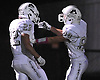 Mepham running back No. 22 Mike Valentino, left, gets congratulated by wide receiver No. 88 Tristan Saade after rushing for the opening score (26 yards) in a Nassau County Conference II varsity football game against Long Beach at Long Beach Middle School on Friday, October 16, 2015. Valentino ran for another touchdown in the first quarter (13 yards) to give Mepham a 14-0 lead at halftime.<br /> <br /> James Escher