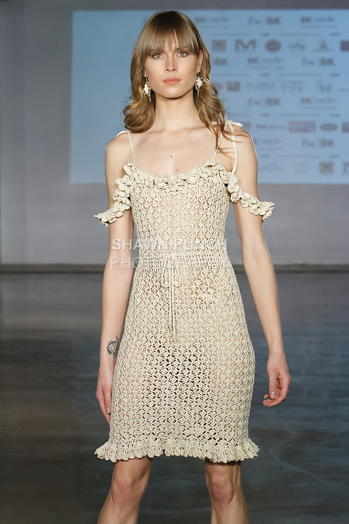 Model walks runway in an outfit from the Coketta Beachwear  collection by Barbara Price on April 12, 2019; during Fashion Week Brooklyn Fall Winter 2019.