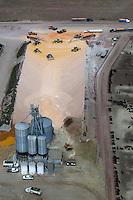 aerial photograph corn deliveries at cattle feedlot Nebraska