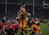 The Jaguares take lineout ball during the 2019 Super Rugby final between the Crusaders and Jaguares at Orangetheory Stadium in Christchurch, New Zealand on Saturday, 6 July 2019. Photo: Dave Lintott / lintottphoto.co.nz
