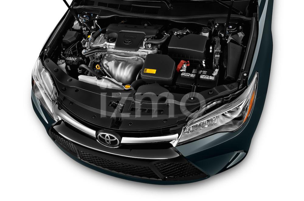 Car stock 2015 Toyota Camry Se 4 Door Sedan engine high angle detail view