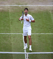 Novak Djokovic (SRB) celebrates after winning his match against Ugo Humbert (FRA) in their Gentleman's Singles Fourth Round match<br /> <br /> Photographer Rob Newell/CameraSport<br /> <br /> Wimbledon Lawn Tennis Championships - Day 7 - Monday 8th July 2019 -  All England Lawn Tennis and Croquet Club - Wimbledon - London - England<br /> <br /> World Copyright © 2019 CameraSport. All rights reserved. 43 Linden Ave. Countesthorpe. Leicester. England. LE8 5PG - Tel: +44 (0) 116 277 4147 - admin@camerasport.com - www.camerasport.com