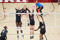 STANFORD, CA - September 9, 2016: Inky Ajanaku, Halland McKenna at Maples Pavilion. The Purdue Boilermakers defeated the Stanford Cardinal 3 - 2.