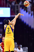 Washington, DC - August 17, 2018: Los Angeles Sparks forward Candace Parker (3) hits on a three pointer during game between the Washington Mystics and Los Angeles Sparks at the Capital One Arena in Washington, DC. (Photo by Phil Peters/Media Images International)