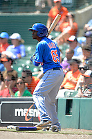 New York Mets outfielder Alonzo Harris #65 on deck during a Spring Training game against the Baltimore Orioles at Ed Smith Stadium on March 30, 2013 in Sarasota, Florida.  (Mike Janes/Four Seam Images)