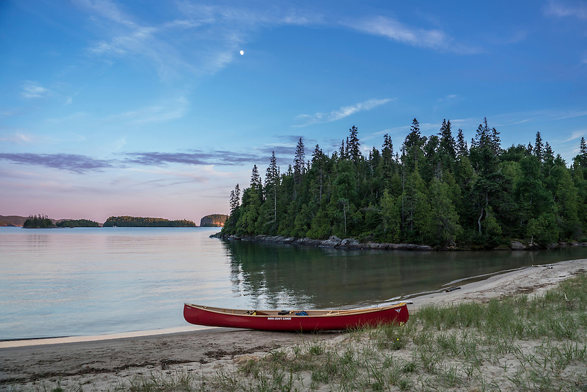 Canoe camping at Warp Bay beach at Lake Superior Provincial Park, Ontario, Canada.