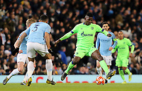 FC Schalke 04's Breel Embolo under pressure from Manchester City's Danilo (left) <br /> <br /> Photographer Rich Linley/CameraSport<br /> <br /> UEFA Champions League Round of 16 Second Leg - Manchester City v FC Schalke 04 - Tuesday 12th March 2019 - The Etihad - Manchester<br />  <br /> World Copyright © 2018 CameraSport. All rights reserved. 43 Linden Ave. Countesthorpe. Leicester. England. LE8 5PG - Tel: +44 (0) 116 277 4147 - admin@camerasport.com - www.camerasport.com