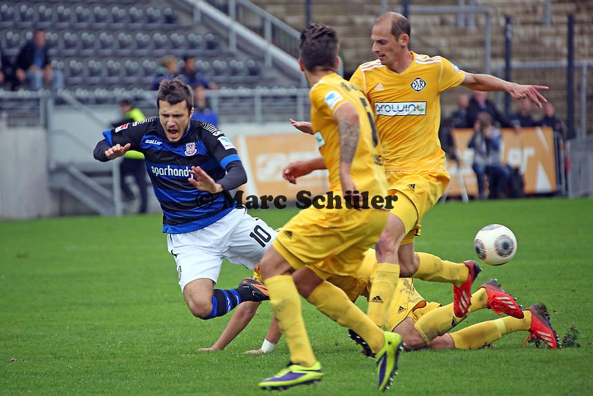Nikita Rukavytsya (FSV) gegen Benjamin Hübner (Aalen) - FSV Frankfurt vs. VfR Aalen, Frankfurter Volksbank Stadion